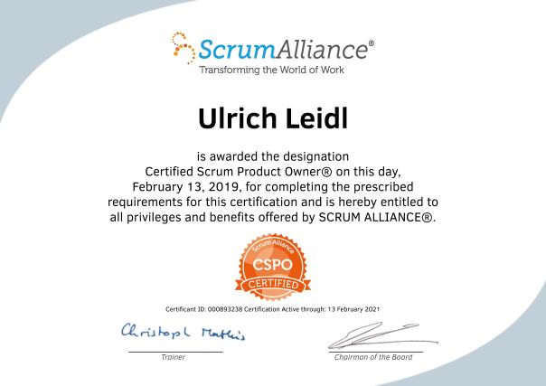Ulrich Leidl-ScrumAlliance_CSPO_Certificate